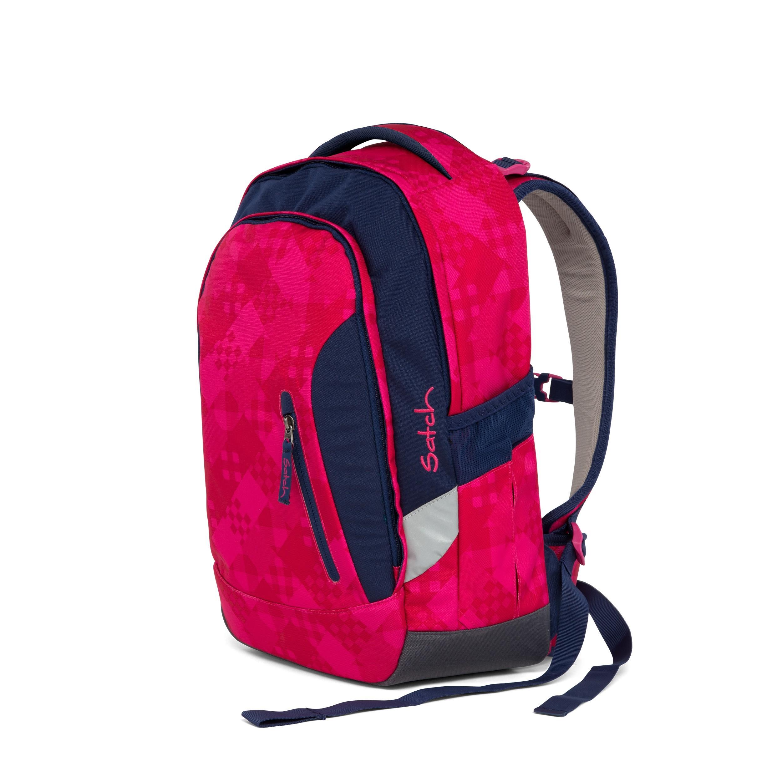satch Sleek Rucksack Schulrucksack Rucksack Tasche Cherry Checks Pink Blau Neu